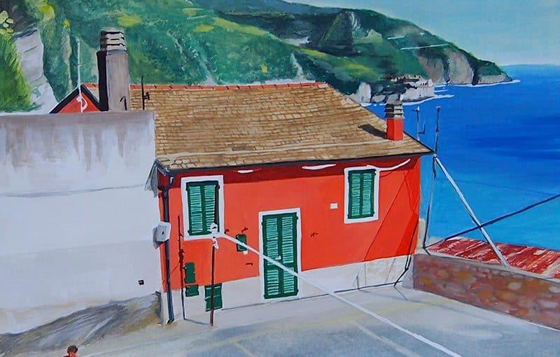 Italian village basketball painting