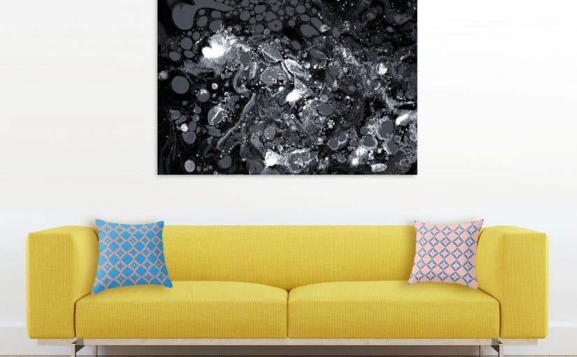 Black Marble, Abstract Monochrome Print