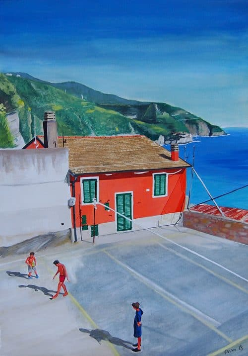 Italian village basketball painting