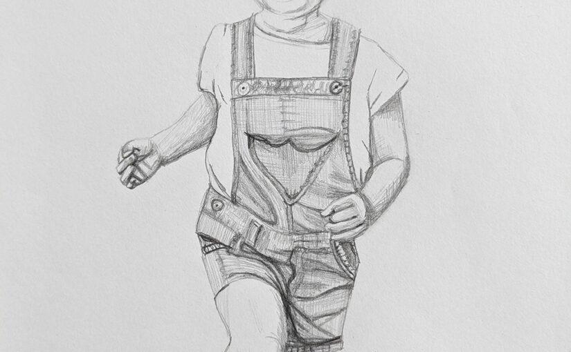 Pencil portrait of a little girl