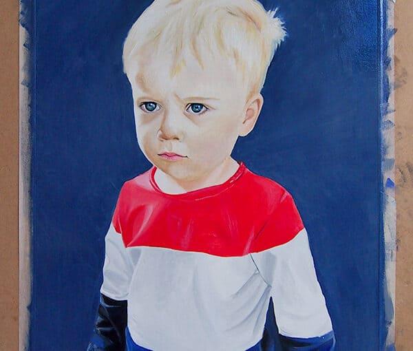 Wyatt the wonder kid! Portrait oils on paper
